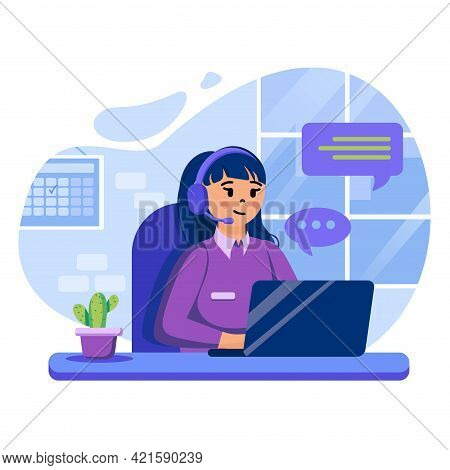 Support Center Concept. Woman Operator Advises, Helps Clients. Consultant For Hotline, Helpdesk, Hel