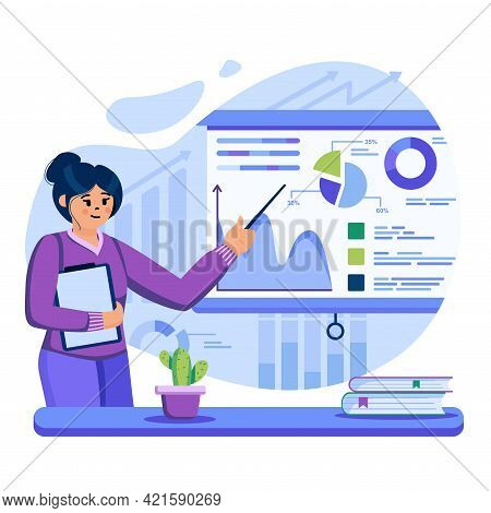 Big Data Analysis Concept. Analyst Research Business Statistics On Charts. Woman Analyzes Data And M