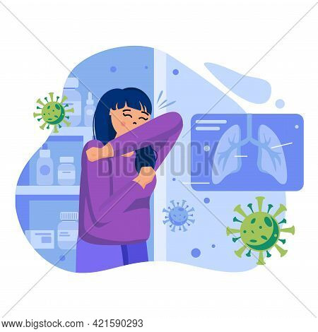 Coronavirus Concept. Woman Is Ill With Covid-19, Coughs In Her Elbow. Infectious Patient With Sympto