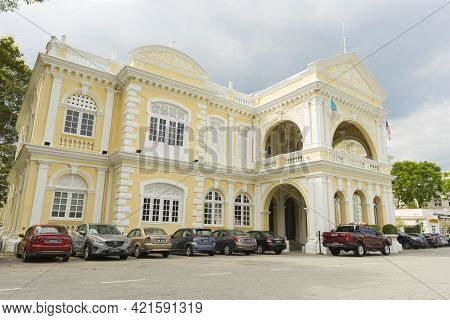 Penang, Malaysia - February 13,2019 : Old Colonial Building Of Penang Town Hall In Penang, Malaysia