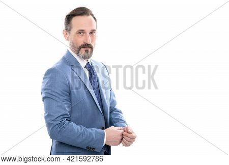Mature Boss With Grizzled Hair In Suit Isolated On White Copy Space, Businesslike