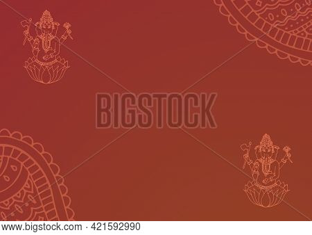 Composition of indian ganesh god designs with decorative patterns on brown background. greetings card or invitation design template concept, digitally generated image.