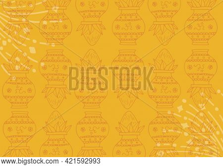 Composition of decorative urn design repeated with line and dot elements on yellow background. greetings card or invitation design template concept, digitally generated image.