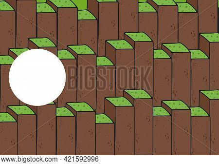 Composition of left of centre circle of copy space over green topped earth brown blocks. background design template concept with copy space, digitally generated image.