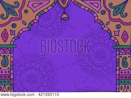 Composition of traditional ethnic decorative arch design with bell and patterns on purple background. greetings card or invitation design template concept, digitally generated image.