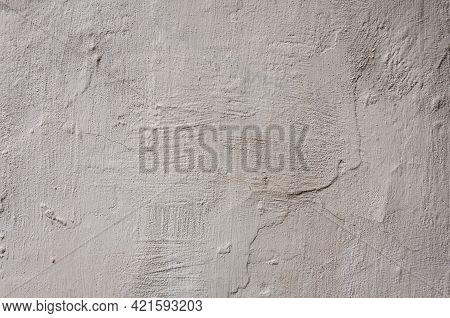 Concrete And Cement. Background High Detailed Fragment Stone White Wall. Dirty Cracked Plaster Textu