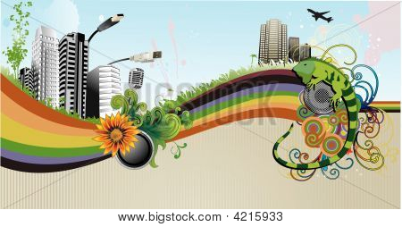 Urban vector illustration composition over a color background poster