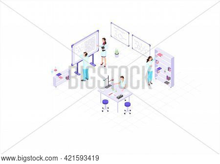 Scientists, Chemists, Academics, Research Workers Isometric Color Vector Illustration. People In Whi