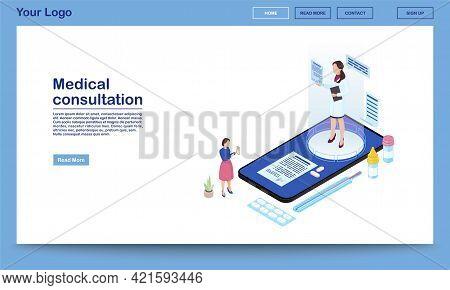 Medical Consultation Online Isometric Promo Webpage Template. Ehealth Mobile App Advertising Landing