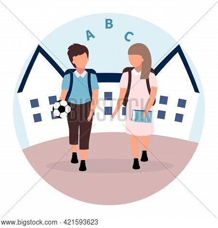 School Friends Flat Illustration. Schoolboy And Schoolgirl With Backpacks Cartoon Characters Isolate
