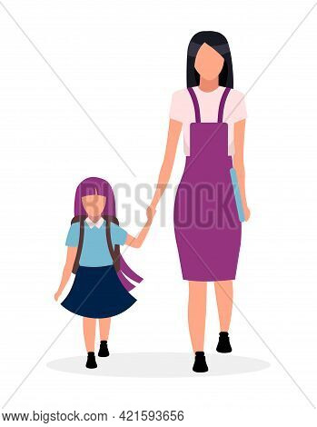 Mother With Daughter Going To Kindergarten Flat Vector Illustration. Older And Younger Sisters Holdi