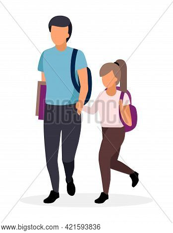 Schoolchildren, Schoolkids Walking Flat Illustration. Older Brother With Younger Sister Holding Hand