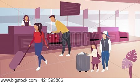 Luggage Check In Airport Flat Vector Illustration. Cartoon Tourists Carrying Suitcases. Male Passeng