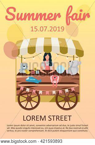 Summer Festival Fair Brochure Template. Funfair, Street Market Cart, Trolley Flyer, Booklet, Leaflet