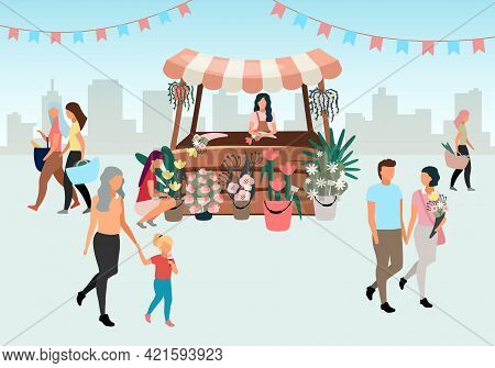 Flowers Market Stall With Seller Flat Illustration. Street Local Store Vendor Selling Bouquets. Flor