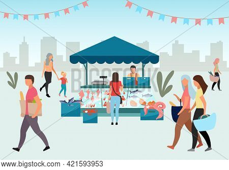 Street Fishmarket Flat Illustration. People Walk Summer Fair, Outdoor Market Stall With Seafood. Fre