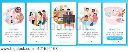 Friends Together Onboarding Mobile App Screen Vector Template. Shopping Pastime, Pizza And Movie Tim