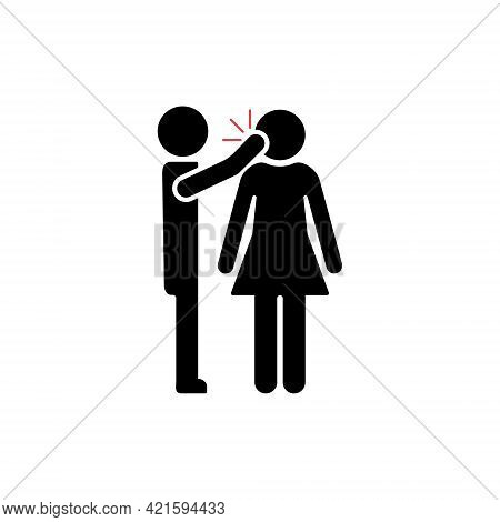Spousal Abuse Icon. Domestic Family Violence And Discrimination Woman. Humiliation, Conflict, Quarre
