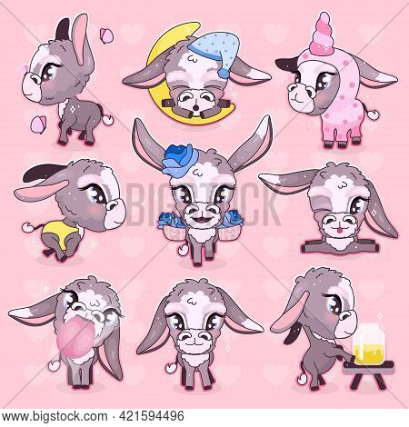 Cute Donkey Kawaii Cartoon Vector Characters Set. Adorable And Funny Mule, Burro Animal Isolated Sti