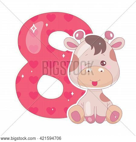 Cute Eight Number With Baby Giraffe Cartoon Illustration. School Math Funny Font Symbol And Kawaii A