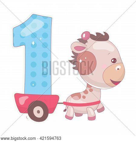 Cute One Number With Baby Giraffe Cartoon Illustration. School Math Funny Font Symbol And Kawaii Ani