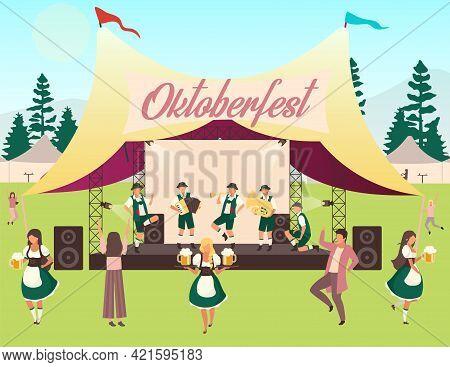 Oktoberfest Flat Vector Illustration. Music And Dances. Folk Performance In Tent. Beer Festival, Oct