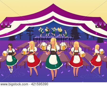 Oktoberfest Flat Vector Illustration. Folk Musical Performance. Beer Festival. Waiters In National C