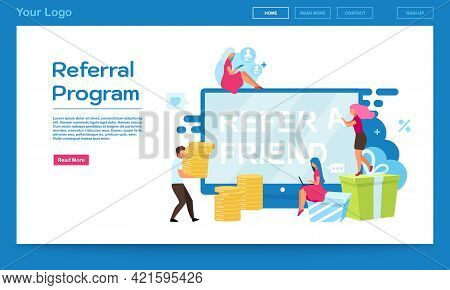 Referral Program Landing Page Vector Template. Customer Attraction, Refer A Friend Website Interface