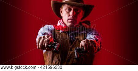 American Bandit In Mask, Western Man With Hat. Portrait Of Farmer Or Cowboy In Hat. Man Wearing Cowb