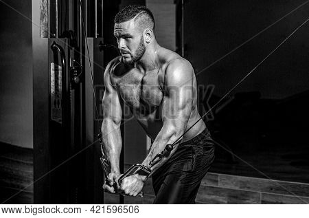 Fitness Man Execute Exercise With Exercise-machine Cable Crossover In Gym. Handsome Man With Big Mus
