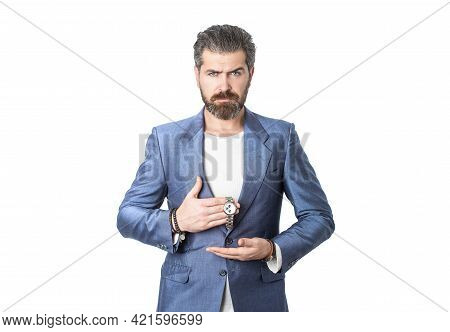 Hand In With Wrist Watch In A Business Suit. Elegant Handsome Man In Suit. Sexy Male, Brutal Macho,