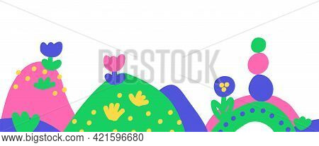 Kids Drawing Border Seamless Vector Border. Childlike Hand Drawn Hills, Flowers Repeating Horizontal