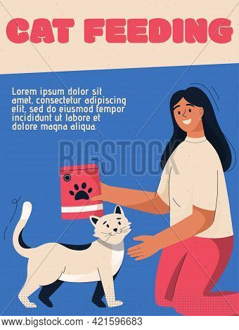 Vector Poster Of Cat Feeding Concept. Woman Is Feeding Cat