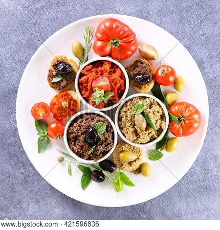 plate of mediterranean canape and tapenade