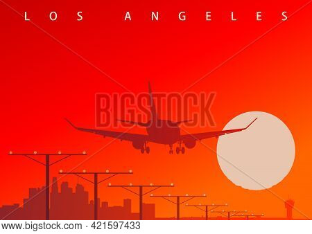 A Commercial Airliner Landing At Los Angeles Airport During The Sunset. Original Vector Illustration