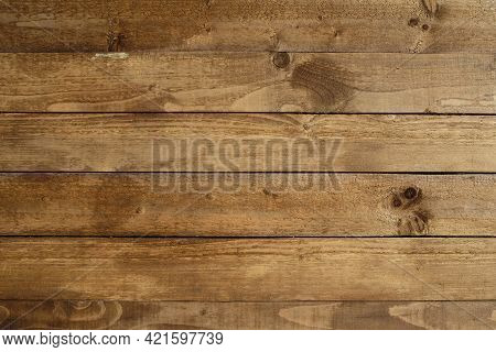 Retro Style Vintage Brown Painted Wooden Textured Boards As Background Front View Close-up
