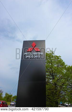 Kyiv, Ukraine - May 8, 2021: Logo Of Mitsubishi Motors Company.