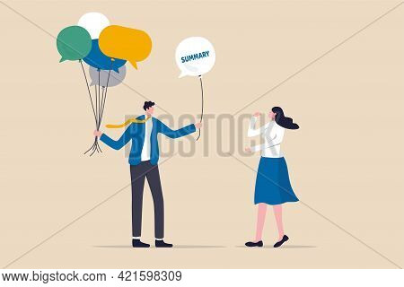 Meeting Summary Or Conclusion, Session Or Brainstorm Recap And Agreement Concept, Businessman Holdin
