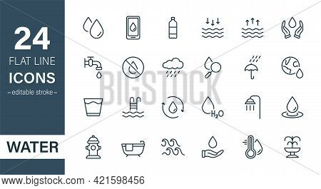 Water Line Icon Set. Drop Water Thin Linear Icon. Mineral Water, Low And High Tide, Shower, Plastic