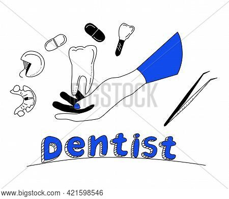 Dentistry Service Poster In Doodle Style.oral Cavity Care.brushing And Cleaning Teeth With Special I