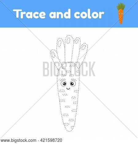 Coloring Book With Cute Vegetable Carrot. For Kids Kindergarten, Preschool And School Age. Trace Wor