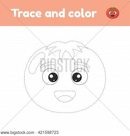 Coloring Book With Cute Vegetable Tomato. For Kids Kindergarten, Preschool And School Age. Trace Wor