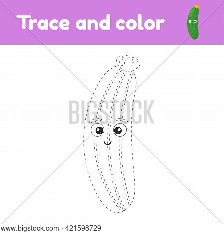 Coloring Book With Cute Vegetable Cucumber. For Kids Kindergarten, Preschool And School Age. Trace W