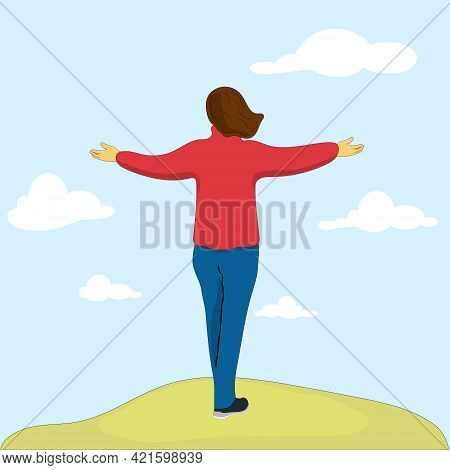 Happy Woman In Sweater Standing With Raising Hands Up In Cloudy Scenery. Back View.vector