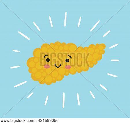 Pancreas Kawaii Healthy Character With Smile. Drawing Of A Healthy Pancreas. Isolated Vector Illustr