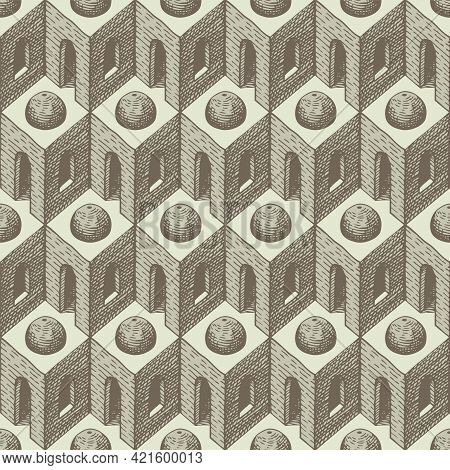 Hand-drawn Seamless Pattern With Architectural Elements. Repeating Vector Texture With Cubic 3d Elem