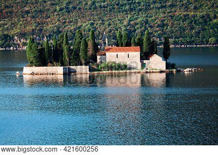 Saint George Island In Kotor Bay Montenegro . Otocic Sveti Dorde .  Islet Off The Coast Of Perast In