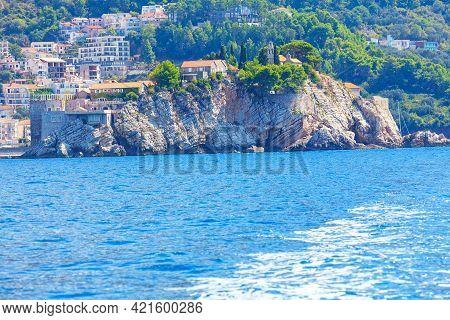 Sveti Stefan On The Montenegro Coast . Luxury Tourist Resort At Adriatic Sea