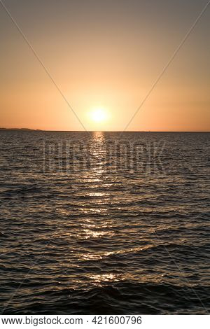Sunrise Panorama Over The Red Sea. Egypt. Travel Vacations Destination. Travel Concept. Perfect Vaca