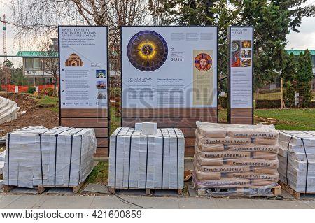 Belgrade, Serbia - February 14, 2021: Saint Sava Church Construction Site Material Info Board In Bel
